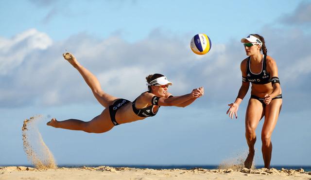Katrin Holtwick (links) und Ilka Semmler starten bei den Vitoria Open in Brasilien<br>Foto: HochZwei/Jürgen Tap