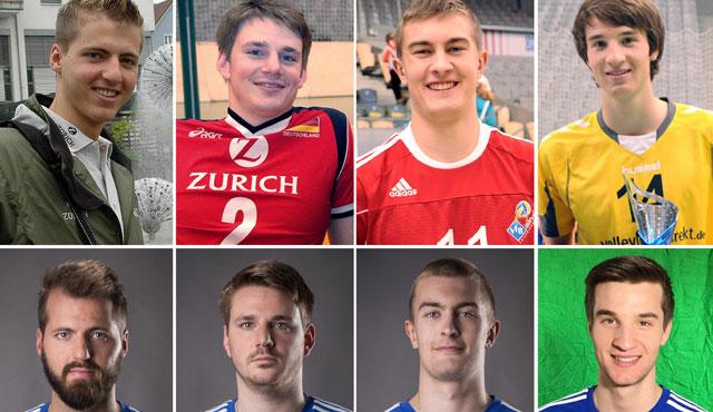 Aus Jugendspielern werden Profis. Die vier VfB-Spieler heute (untere Reihe) und in ihrer Zeit bei den YoungStars: Thilo Späth-Westerholt (Mai 2006), Markus Steuerwald (Januar 2007), Jakob Günthör (Dezember 2012) und Julian Zenger (Juni 2013). <br>Foto: VfB Friedrichshafen Volleyball GmbH, Gunthild Schulte-Hoppe