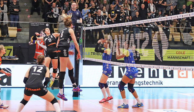Aachener Volleyball-Party vor vielen Fans in Belgien  - Foto: Ladies in Black Aachen
