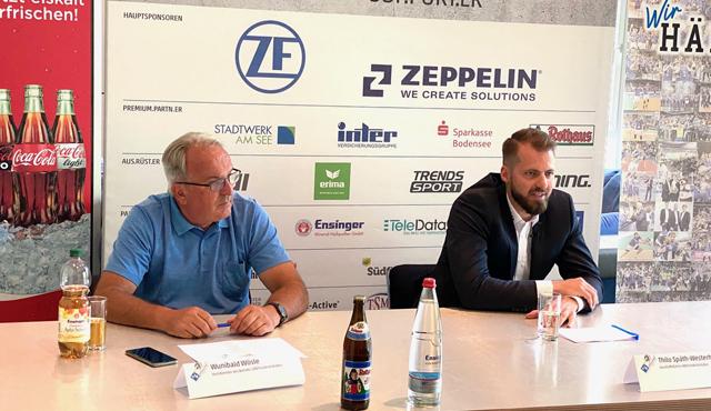 Wunibald Wösle (links) und Thilo Späth-Westerholt bei der Pressekonferenz in der ZF Arena<br>Foto: Julianne Steuerwald