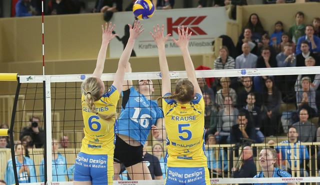 VC Wiesbaden beendet Hauptrunde auf Platz fünf - Knappe Niederlage im Spitzenspiel gegen Schwerin - Foto: Detlef Gottwald