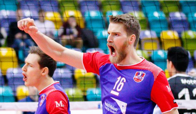 Einst gemeinsam in Friedrichshafen, jetzt zusammen mit den United Volleys erfolgreich: Jan Zimmermann und Christian Dünnes.<br>Foto: United Volleys/Gregor Biskup