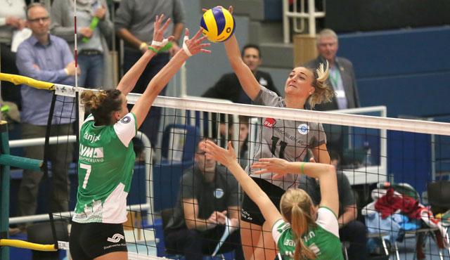 VC Wiesbaden verliert Auswärtsspiel beim USC Münster trotz dreifacher Aufholjagd - Foto: Detlef Gottwlad