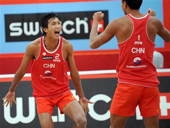 China & USA Again for Moscow 2008 Grand Slam Gold Medal - Chinese celebration for Linyin Xu (left) and Penggen Wu, FOto: FiVB