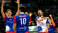 So sieht es aus, wenn die United Volleys in der Fraport Arena Großes zu bejubeln haben Foto: United Volleys/Corinna Seibert