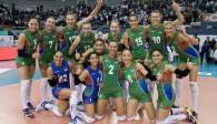 Aserbaidschan jubelt über den Sieg in der deutschen Gruppe Foto: CEV